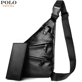 VICUNA POLO New Personality Leather Man Messenger Bag Brand Black Men's Fashion Chest Bag With Front Bag Casual Men Sling Bag