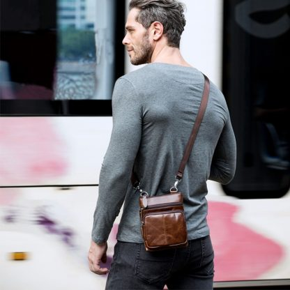 WESTAL Messenger Bag Men's Shoulder Genuine Leather bags Flap Small male man Crossbody bags for men natural Leather bag M701 1
