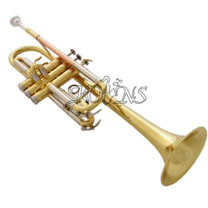 Top New Gold C Key Trumpet with Cupronickel Tuning pipe horn With Case 4