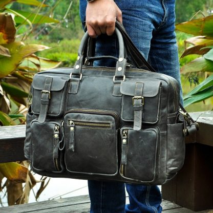 Men Real Leather Antique Large Capacity Travel Briefcase Business 15.6 5