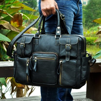 Men Real Leather Antique Large Capacity Travel Briefcase Business 15.6 2