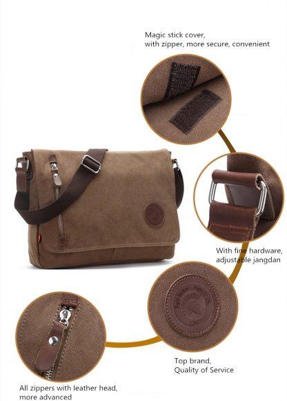 Augur 2018 Canvas Leather Crossbody Bag Men Military Army Vintage Messenger Bags Shoulder Bag Casual Travel school Bags  4