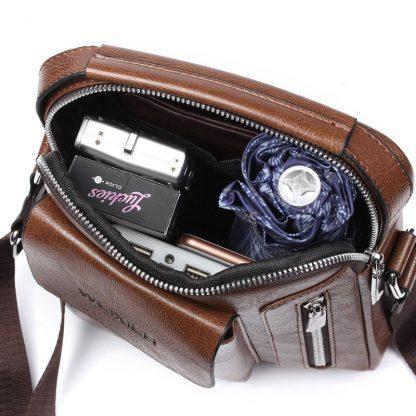 Vintage Messenger Bag Men Shoulder bags Pu Leather Crossbody Bags For Men Bags Retro Zipper Man Handbags WBS510 3