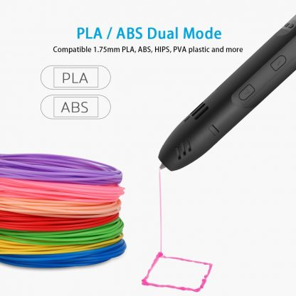 QCREATE ABS/PLA dual mode 3D Printing Pen LCD display 3Doodler Scribble Pen Speed Temperature adjustable free 10M PLA filament 1