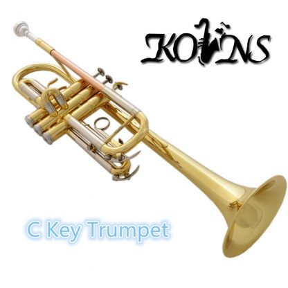 Top New Gold C Key Trumpet with Cupronickel Tuning pipe horn With Case