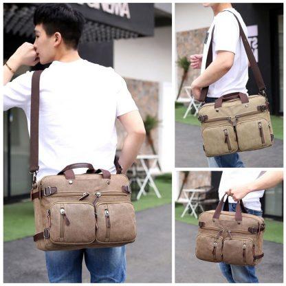 Scione Men Canvas Bag Leather Briefcase Travel Suitcase Messenger Shoulder Tote Back Handbag Large Casual Business Laptop Pocket 5