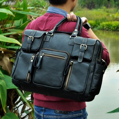 Men Real Leather Antique Large Capacity Travel Briefcase Business 15.6 1