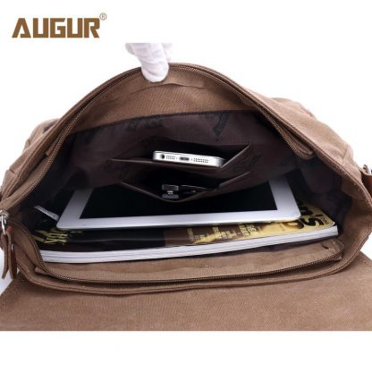 Augur 2018 Canvas Leather Crossbody Bag Men Military Army Vintage Messenger Bags Shoulder Bag Casual Travel school Bags  2