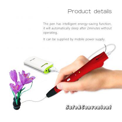 QCREATE 3D Pen QW01-14S 3D Drawing Pen with Free 10 Meters PCL 1.75mm Filament Low Temperautre Smart 3D Printing Pen Doodler DIY 2