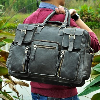 Men Real Leather Antique Large Capacity Travel Briefcase Business 15.6 3