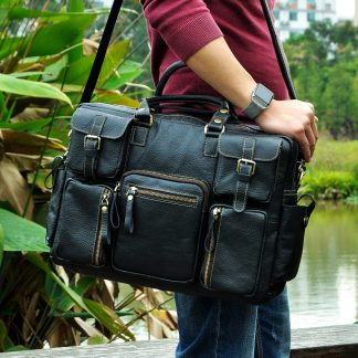 Men Real Leather Antique Large Capacity Travel Briefcase Business 15.6