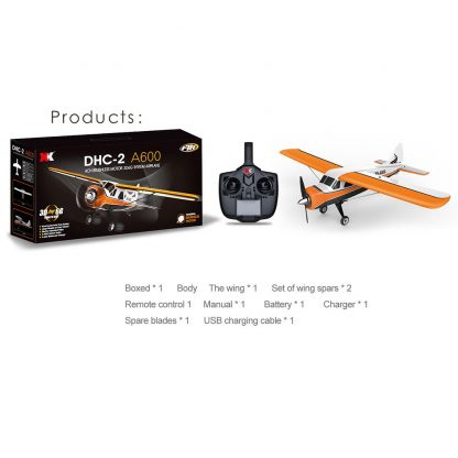 XK DHC-2 A600 4CH 2.4G Brushless Motor 3D6G RC Airplane 6 Axis Glider Remote Control Aircraft Toy Child Birthday Present 2