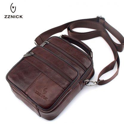 ZZNICK 2018 Genuine Cowhide Leather Shoulder Bag Small Messenger Bags Men Travel Crossbody Bag Handbags New Fashion Men Bag Flap
