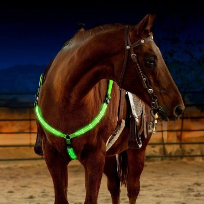 LED Horse Harness Breastplate Nylon Webbing Night Visible Horse Riding Equipment Paardensport Racing Cheval Equitation 2
