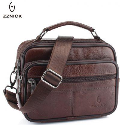 ZZNICK 2018 Genuine Cowhide Leather Shoulder Bag Small Messenger Bags Men Travel Crossbody Bag Handbags New Fashion Men Bag Flap 2
