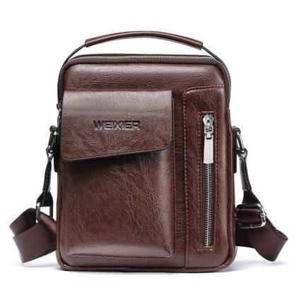 Vintage Messenger Bag Men Shoulder bags Pu Leather Crossbody Bags For Men Bags Retro Zipper Man Handbags WBS510 5