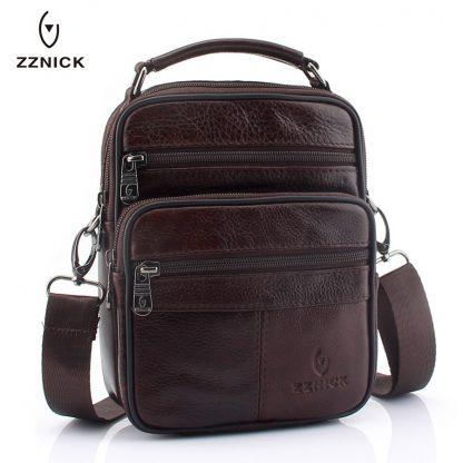 ZZNICK 2018 Genuine Cowhide Leather Shoulder Bag Small Messenger Bags Men Travel Crossbody Bag Handbags New Fashion Men Bag Flap 1