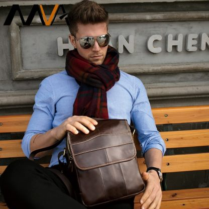 MVA Shoulder Bag for Men Men's Genuine Leather Bag Vintage Messenger Bags Men Leather Small Crossbody Bags for ipad handbag 1121 5