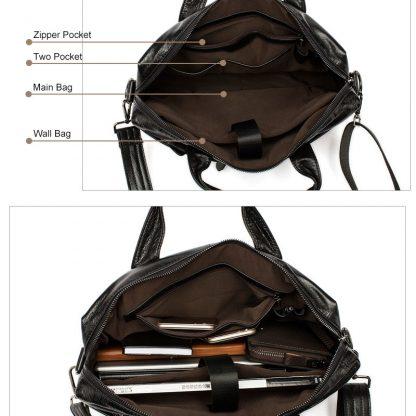 MVA Leather Briefcases men laptop male messenger bag Men's Genuine leather shoulder bags briefcase for documents  handbag 9005 5