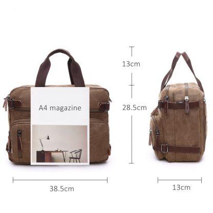 Scione Men Canvas Bag Leather Briefcase Travel Suitcase Messenger Shoulder Tote Back Handbag Large Casual Business Laptop Pocket 2