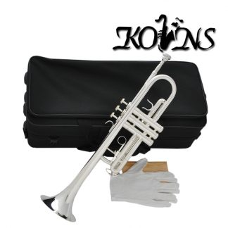 Top New Silver Plated  C Key Trumpet with Cupronickel Tuning pipe horn With Case