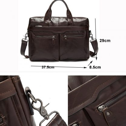 MVA Leather Briefcases men laptop male messenger bag Men's Genuine leather shoulder bags briefcase for documents  handbag 9005 4
