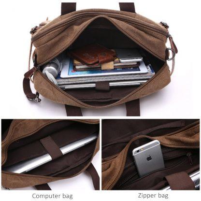 Scione Men Canvas Bag Leather Briefcase Travel Suitcase Messenger Shoulder Tote Back Handbag Large Casual Business Laptop Pocket 3