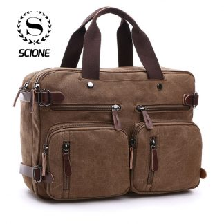 Scione Men Canvas Bag Leather Briefcase Travel Suitcase Messenger Shoulder Tote Back Handbag Large Casual Business Laptop Pocket