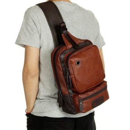 Zebella Brand Men's Shoulder Bag Vintage Men Crossbody Bag Men Chest Bags Casual Fashion PU Leather Men Messenger Bag  2