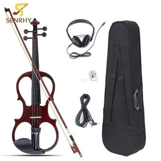 4/4 Bilateral Electric Violin Fiddle Stringed Instrument Basswood with Fittings Cable Headphone Case for Music Lovers Beginners