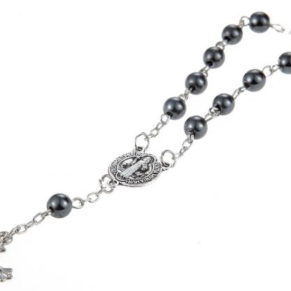 New Trendy Plastic Bead catholic rosary cross Pendant Bracelet For Women Jewelry Bangles Religious Gifts 1