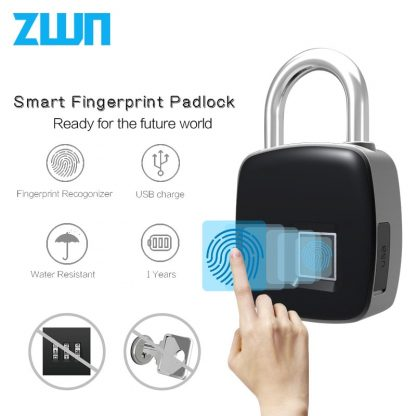지문인식자물쇠ZWN Z1 USB Rechargeable Smart Keyless Fingerprint Lock IP65 Waterproof Anti-Theft Security Padlock Door Luggage Case Lock