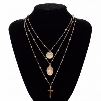 Ingesight Multilayer Cross Virgin Mary Pendant Beads Chain Christian Necklace Goddess Catholic Choker Necklace Collier for Women 3
