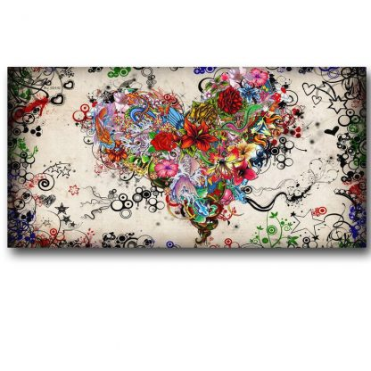 Hearts Flowers Painting Wall Art Canvas Painting For Living Room Modern Decorative Pictures Abstract Art Cuadros Decoration 2