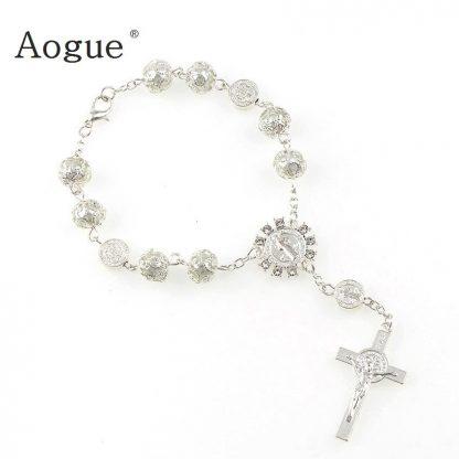 Catholic Religious Bead Cross Bracelets Rosary Centerpiece Sacred Heart of Mary Guadalupe Divine Mercy Jesus Saint Icons Jewelry