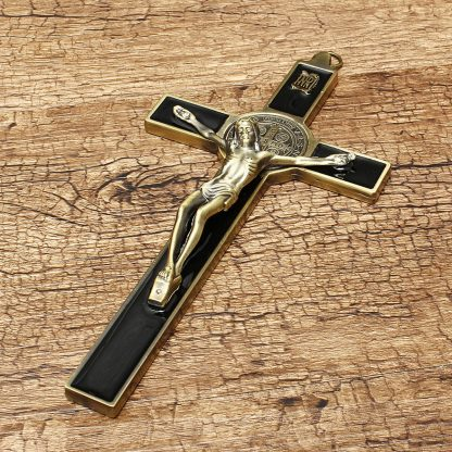 Church Relics Crucifix Jesus Christ On The Stand Cross Wall Crucifix Antique Home Chapel Decoration Wall Crosses Bronze Black 5