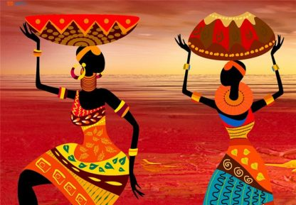 African Women Dancing Print Colored Poster Canvas Painting Tribal Wall Art Wall Pictures for Living Room Decoration 3