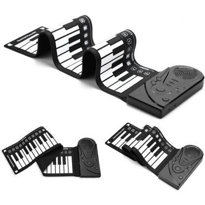 Unisex Flexible Keyboard Digital Educational Piano Kid's 75kg 49-Keys white 0 Roll-Up Black Music 1