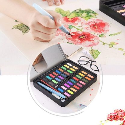36 Colors Solid Watercolor Artist Paint Set Painting Box with Pens Paper And Bag Artist Art Supplies 1