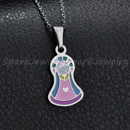 Religious Stainless Steel Virgin Mary Necklace Catholic Lady Of Guadalupe Necklace Cartoon Colorful Figure Chain Necklace  3