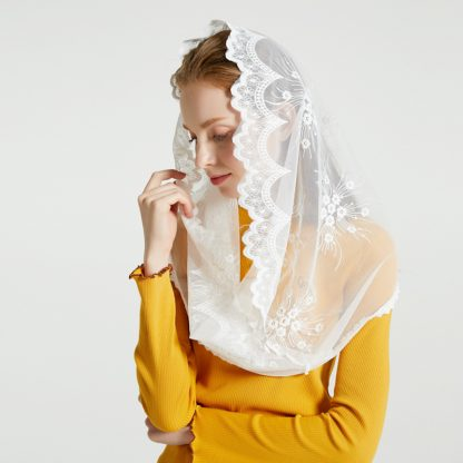 Leo anvi White black church veil traditional catholic orthodox veils religious head coverings mantilla lace latin mass scarf 2