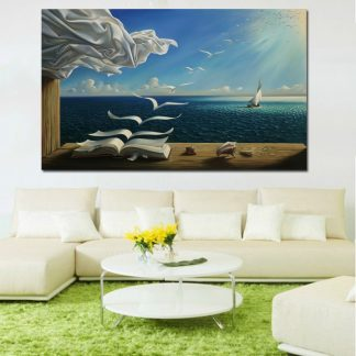 Salvador Dali Canvas Art Print Poster The Waves Book Sailboat Picture Canvas painting Diary of Discovery by Vladimir Kush