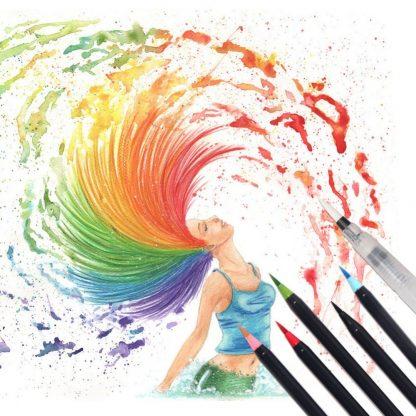워터브러쉬20pcs Colors Brush Pen Sketch Drawing Watercolor Marker Set Calligraphy Pen For School Children Painting Manga Brush Stationery 5