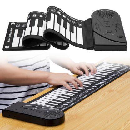 Unisex Flexible Keyboard Digital Educational Piano Kid's 75kg 49-Keys white 0 Roll-Up Black Music