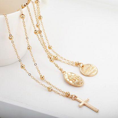 X86 Multilayer Cross Virgin Mary Pendant Beads Chain Christian Neckalce Goddess Catholic Choker Necklace Collier For Women 4