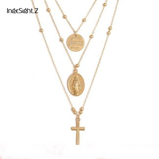 Ingesight Multilayer Cross Virgin Mary Pendant Beads Chain Christian Necklace Goddess Catholic Choker Necklace Collier for Women