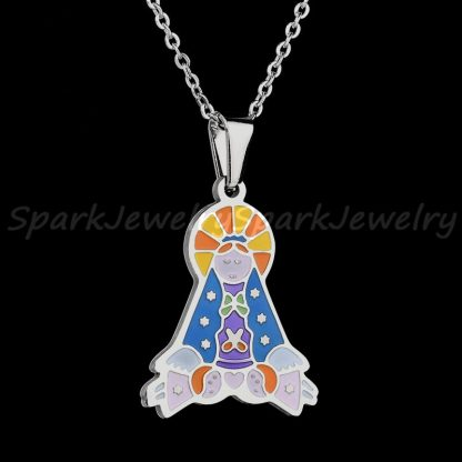 Religious Stainless Steel Virgin Mary Necklace Catholic Lady Of Guadalupe Necklace Cartoon Colorful Figure Chain Necklace  4