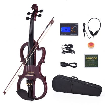 Hot sale ammoon VE-201 Full Size 4/4 Solid Wood Silent Electric Violin Fiddle Maple Body Ebony Fingerboard Pegs Chin Rest