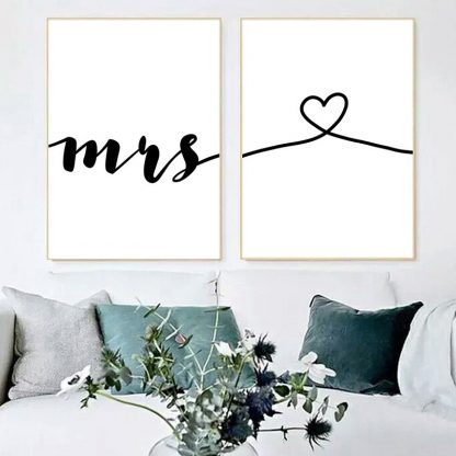 Wall Art Canvas Painting Nordic Posters Prints Mr Mrs Romantic Love Quotes Pictures For Living Room Home Wedding Decoration 2