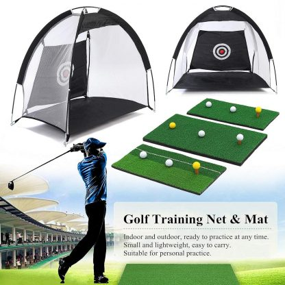 Golf Hitting Cage Practice Net Trainer Foldable 210D Encryption Oxford Cloth+Polyester Durable Sturdy Construction Black